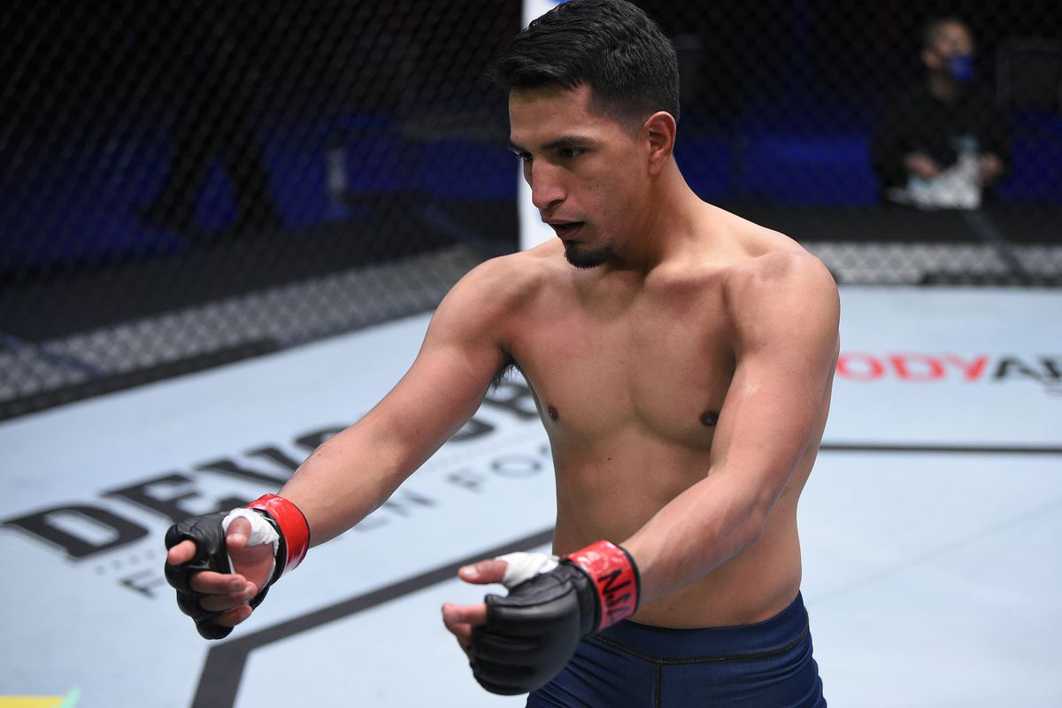 Adrian Yanez celebrates after his knockout over Brady Huang in a bantamweight fight during week two of Dana White's Contender Series season four at UFC APEX on August 11, 2020 in Las Vegas, Nevada.
