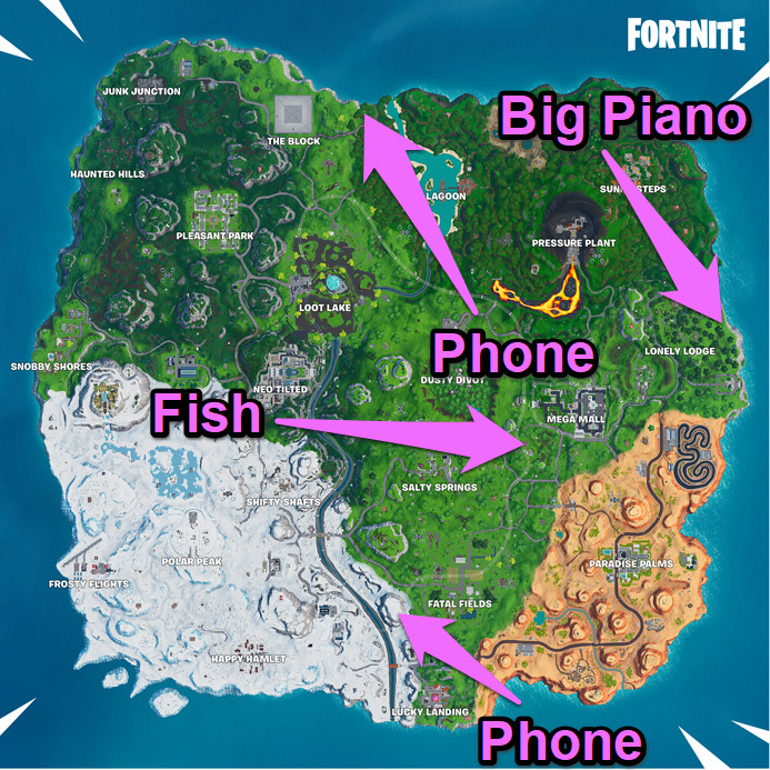 Find Fortnite's phone, piano, and dancing fish trophy with