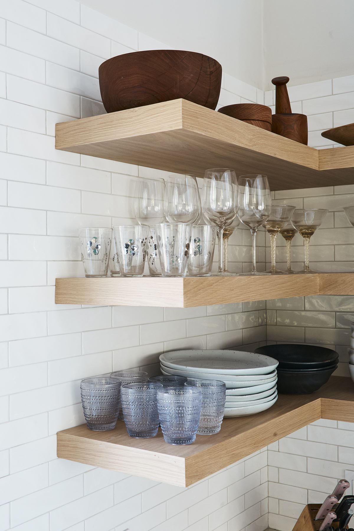 Open shelves with glassware