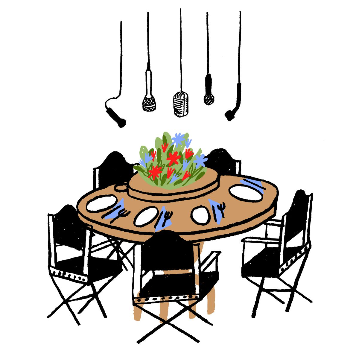 An illustration of a dining room table at the Kroc ranch.