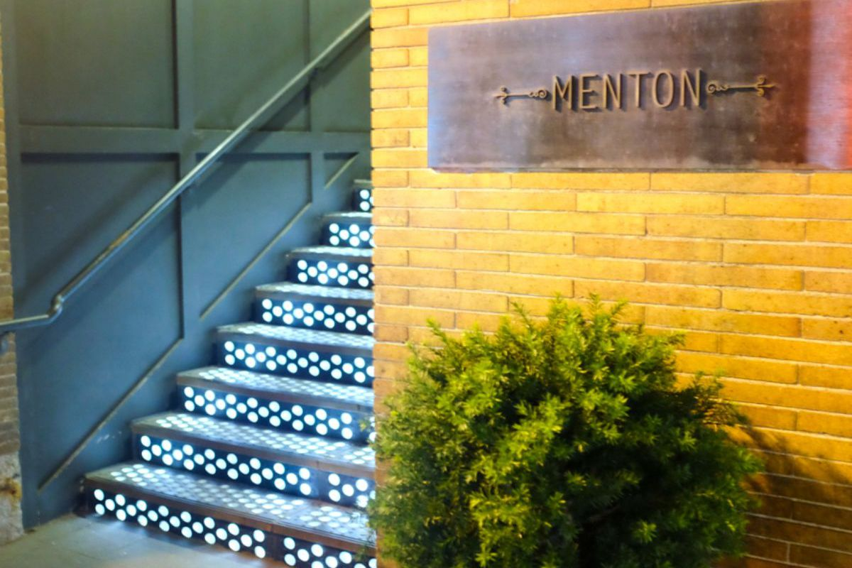The facade of Menton, Lynch's most upscale restaurant.