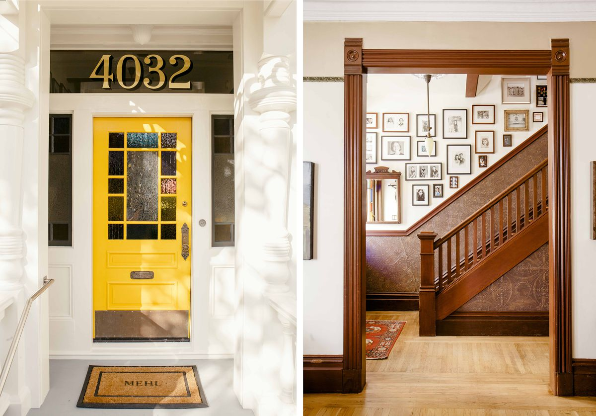 Right: A bright yellow front door. Left: A staircase and molding in a Victorian house.