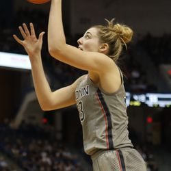 UConn�s Katie Lou Samuelson (33) goes in for a layup during the Notre Dame Fighting Irish vs UConn Huskies women's college basketball game in the Women's Jimmy V Classic at the XL Center in Hartford, CT on December 3, 2017.