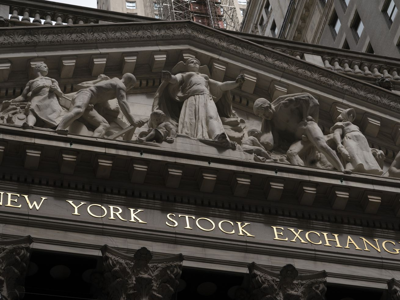 The front of the New York Stock Exchange is shown, Monday, May 24, 2021. Stocks are opening higher on Wall Street Wednesday, May 26 as inflation fears ease and investors look ahead to data expected to show economic growth accelerating in the U.S.
