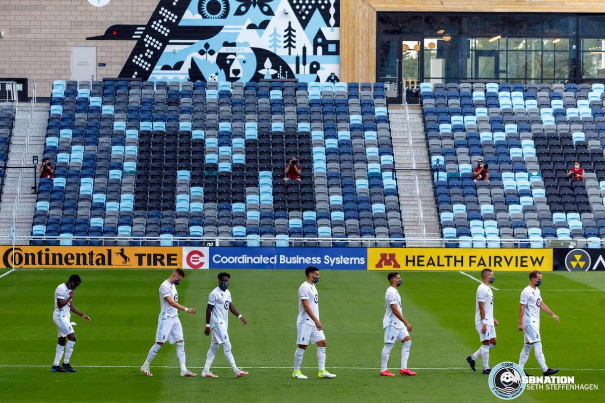 August 21, 2020 - Saint Paul, Minnesota, United States - The starting eleven for Minnesota United walk out to a stadium devoid of fans prior to the Minnesota United vs Sporting KC match at Allianz Field.