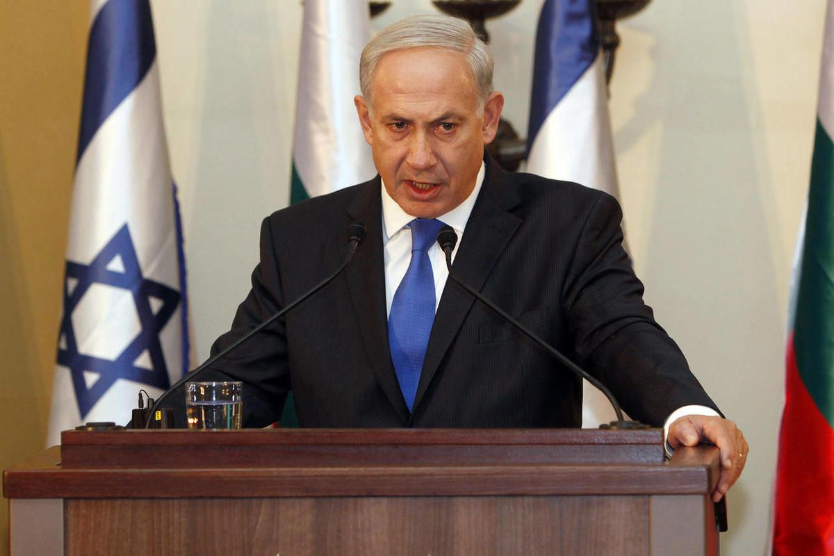 FILE - In this Sept. 11, 2012, photo, Israeli Prime Minister Benjamin Netanyahu speaks during a joint press conference with his Bulgarian counterpart Boyko Borissov, not seen, in Jerusalem. Netanyahu is making a direct appeal to U.S. voters to elect a pre