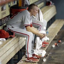 Philadelphia Phillies relief pitcher Jacob Diekman sits on the bench after losing  a baseball game against the Houston Astros Thursday, Sept. 13, 2012, in Houston. The Astros beat the Phillies 6-4.