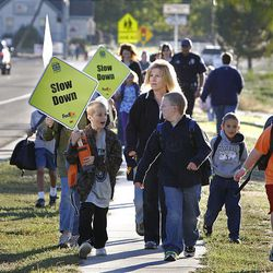King Elementary School students and parents join the International Walk to School Event promoting safety walking to school in Layton.