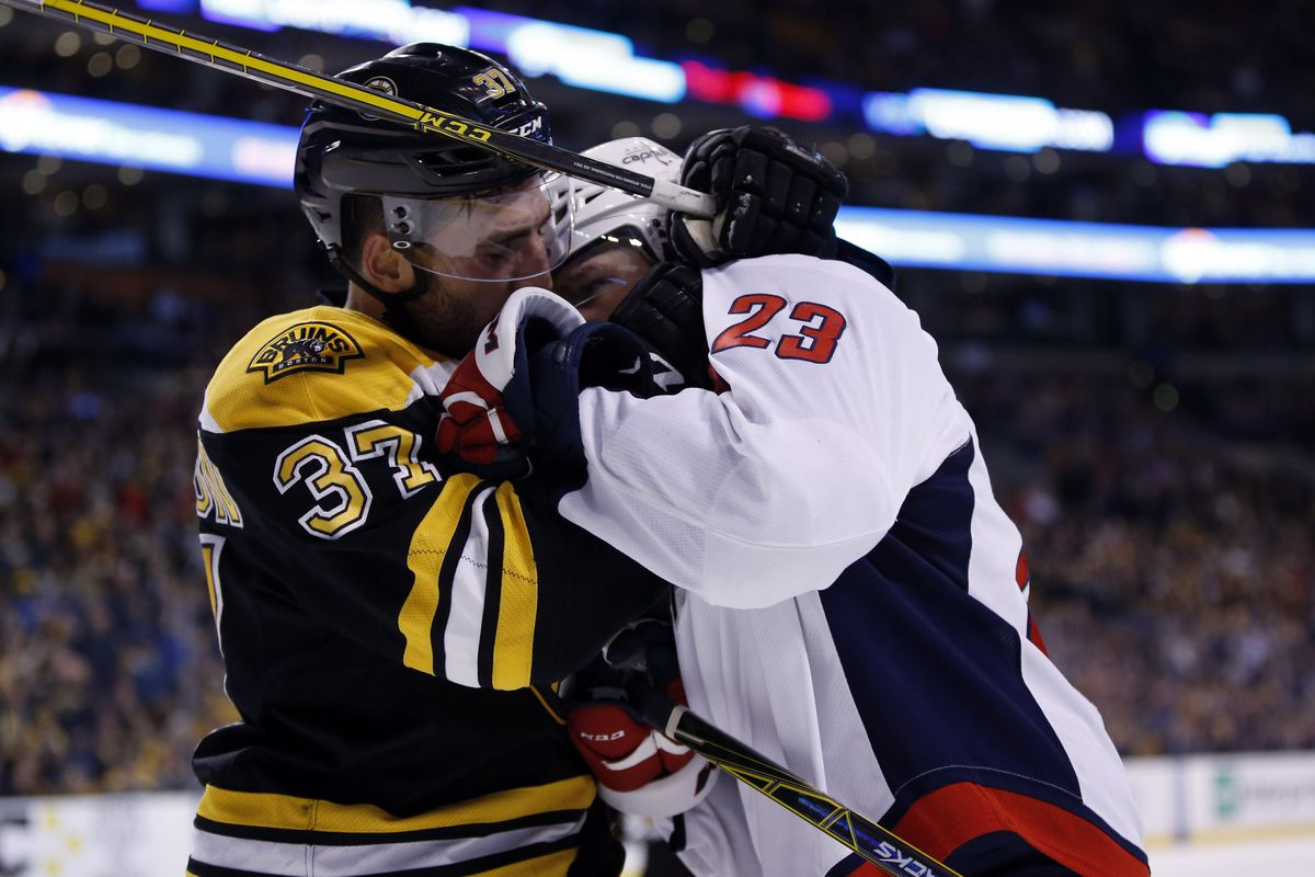 Patrice Bergeron would like a word with you, Zach Sill.