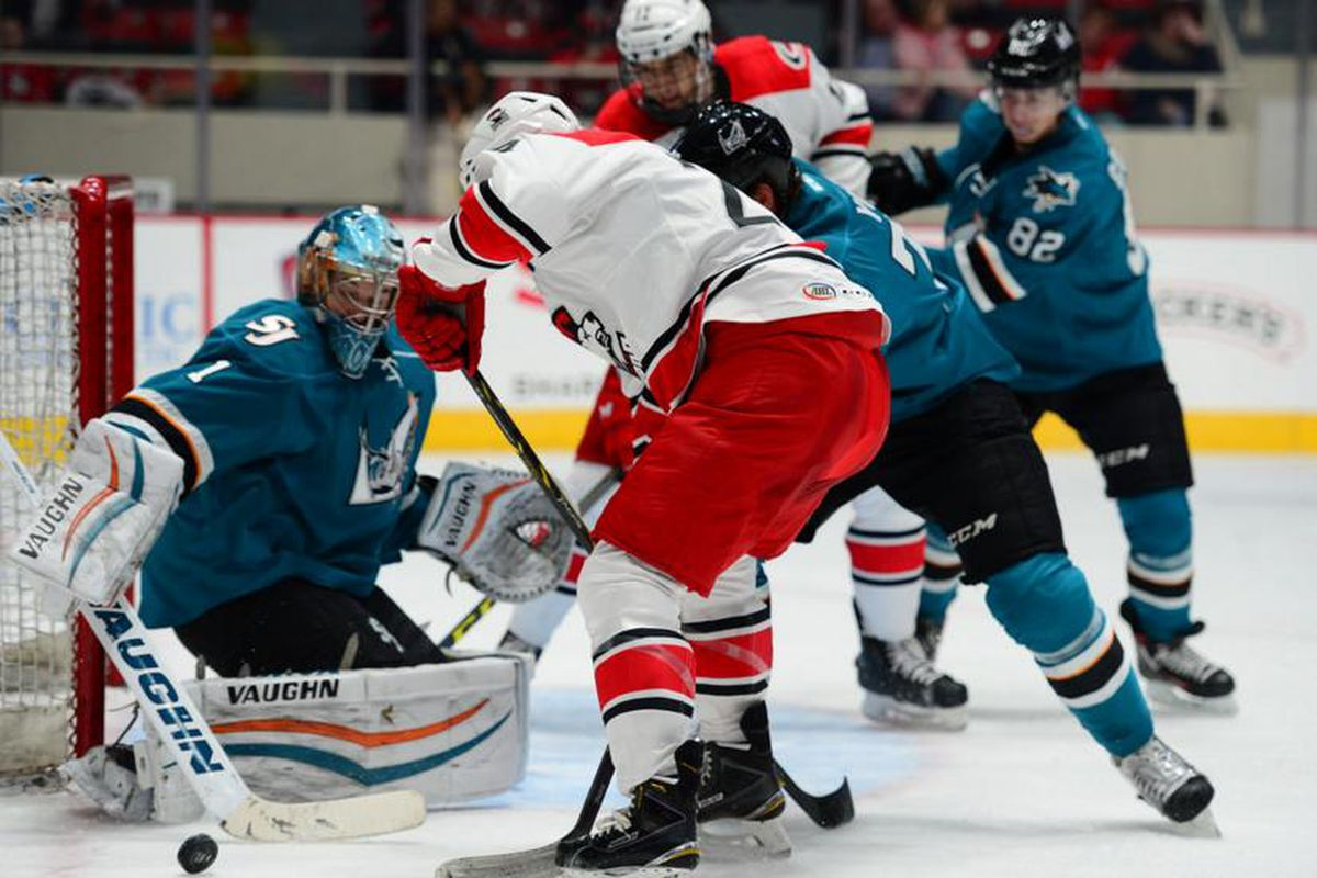 San Jose Barracuda goaltender Troy Grosenick makes one of his 19 saves in the Barracuda 3-1 win over the Charlotte Checkers Wednesday night at Bojangles' Coliseum. (https://www.flickr.com/photos/charlottecheckers)