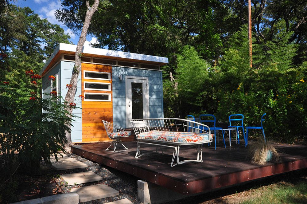 The Modern Kwik Room—a 12x14 backyard office—by Kanga Room Systems.  Courtesy of Kanga Room Systems - 5 Cool Prefab Backyard Sheds You Can Buy Right Now - Curbed