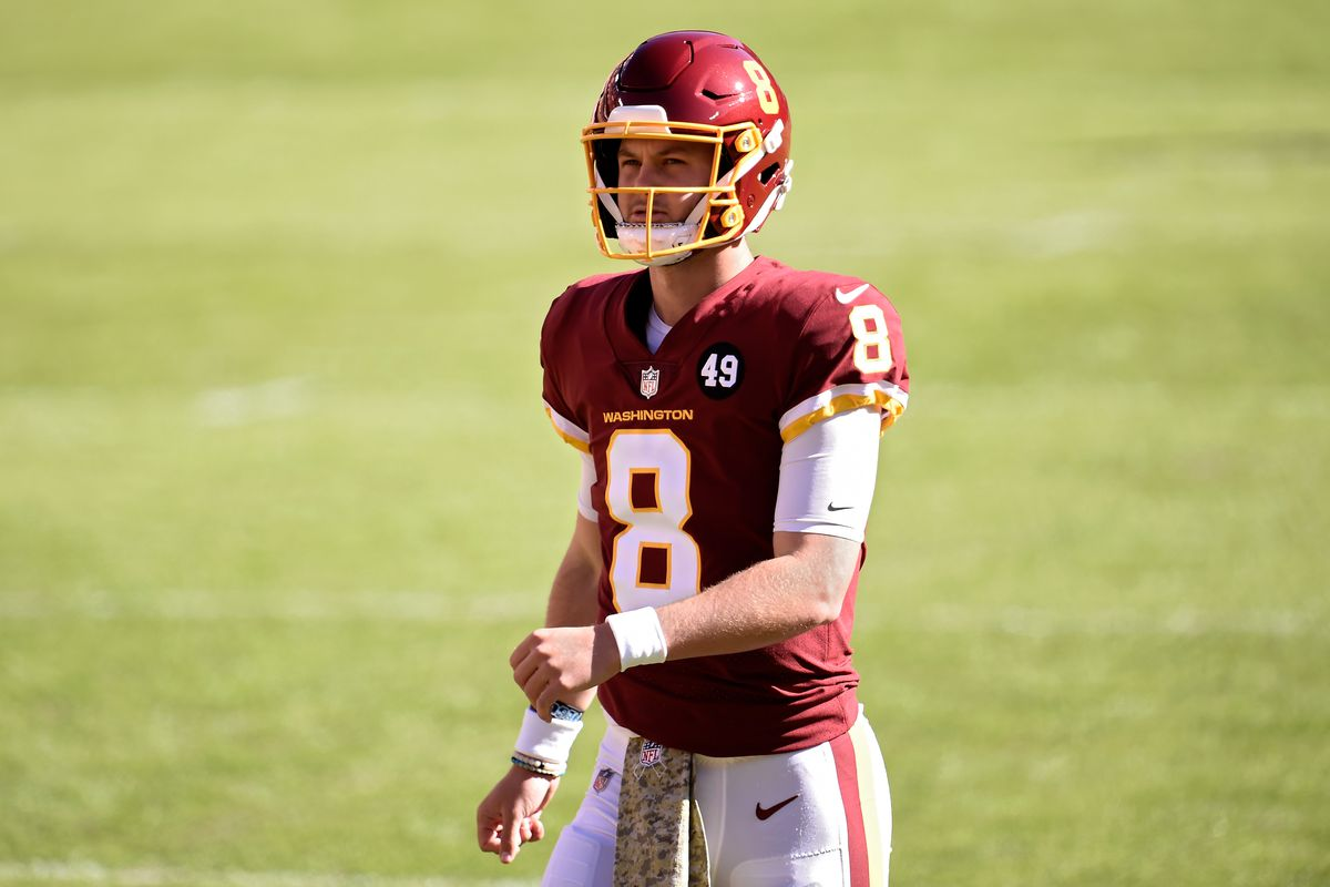 Kyle Allen #8 of the Washington Football Team looks on before the game against the New York Giants at FedExField on November 08, 2020 in Landover, Maryland.