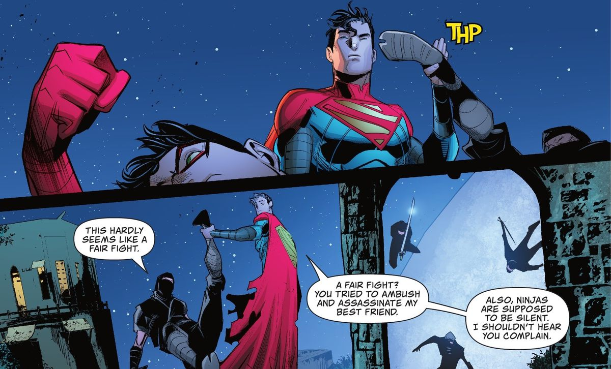 """Jon Kent/Superman easily catches the kick of the ninja attacking him and holds him in mid-air by his ankle. """"This hardly seems like a fair fight,"""" the ninja says. """"Ninjas are supposed to be silent,"""" Jon replies, """"I shouldn't hear you complain"""" in Superman: Son of Kal-El #1 (2021)."""