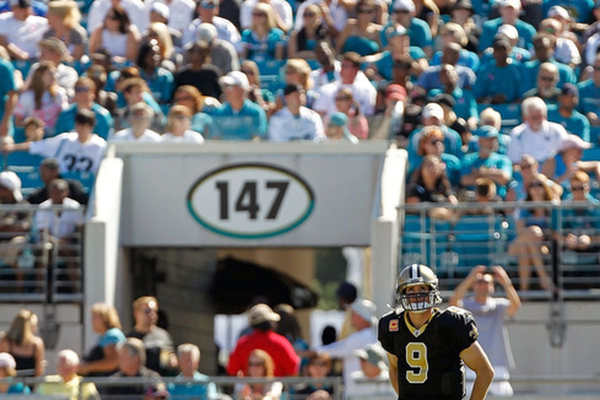 JACKSONVILLE, FL - OCTOBER 02:  Drew Brees #9 of the New Orleans Saints looks on during a game against the Jacksonville Jaguars at EverBank Field on October 2, 2011 in Jacksonville, Florida.  (Photo by Mike Ehrmann/Getty Images)