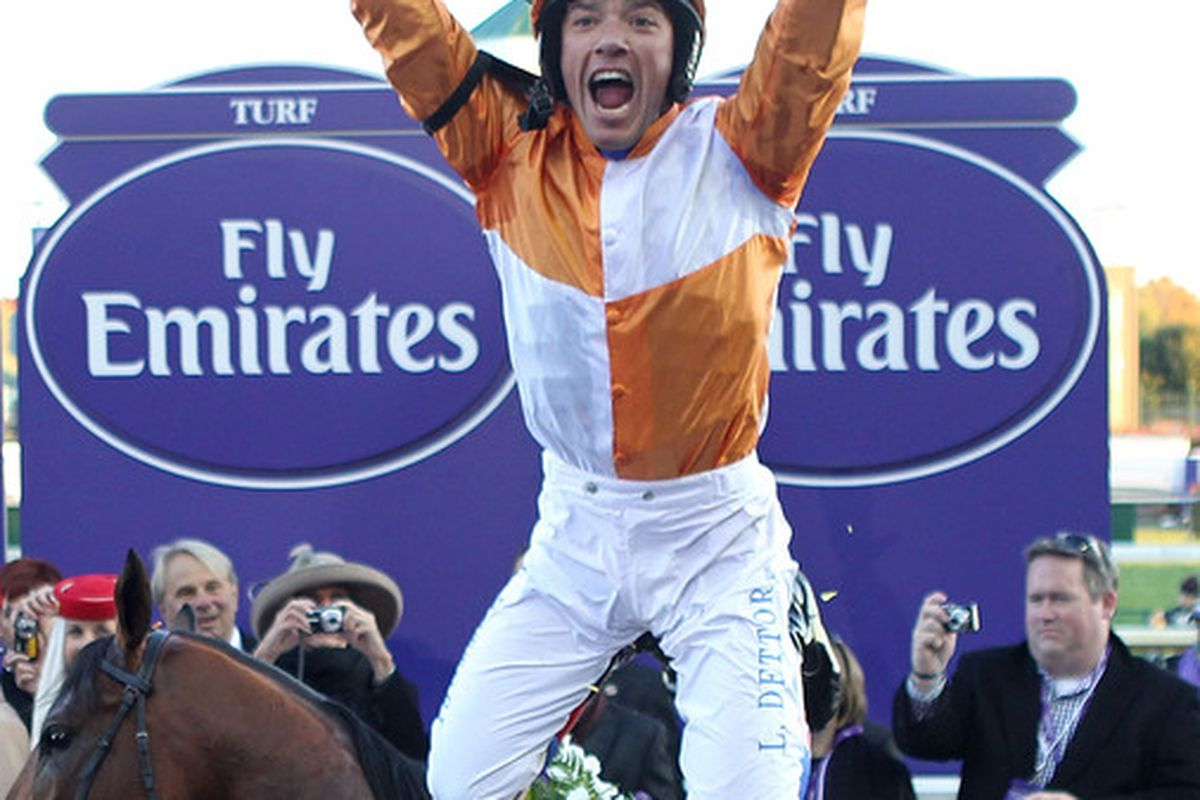LOUISVILLE KY - NOVEMBER 06:  Lanfranco Dettori aboard Dangerous Midge celebrates after winning the Turf during the Breeders' Cup World Championships at Churchill Downs on November 6 2010 in Louisville Kentucky.  (Photo by Andy Lyons/Getty Images)