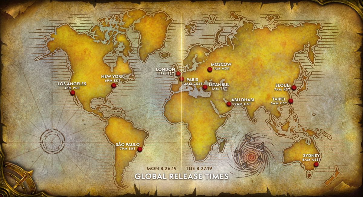 A map with various cities and times on it. They are all based on it being 12 a.m. CEST.