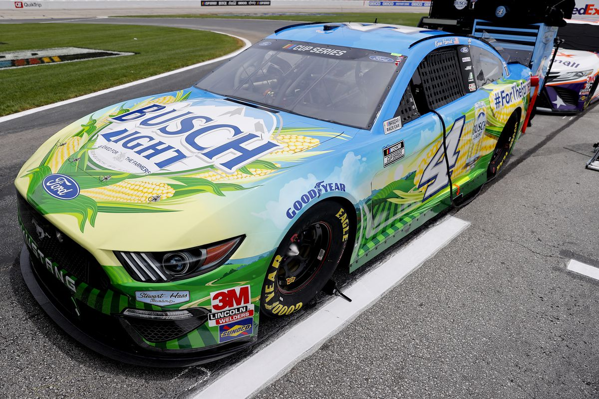 The #4 Busch Light For The Farmers Ford, driven by Kevin Harvick, sits on the grid prior to the NASCAR Cup Series Folds of Honor QuikTrip 500 at Atlanta Motor Speedway on June 07, 2020 in Hampton, Georgia.