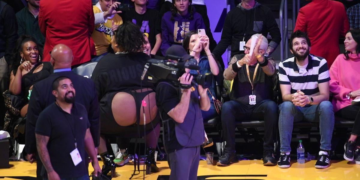 Lizzo at an NBA game.