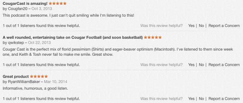 CougarCast Reviews
