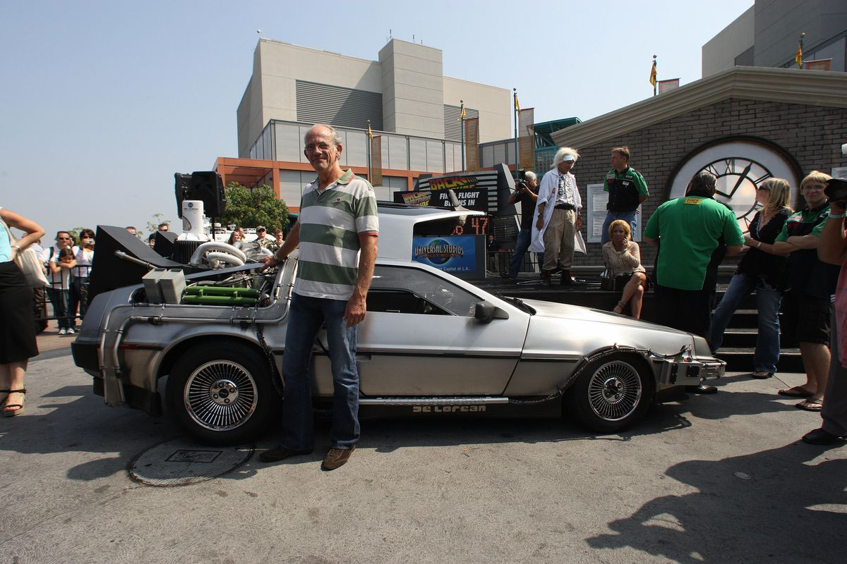 """Actor Christopher Lloyd poses with a """"Ba"""