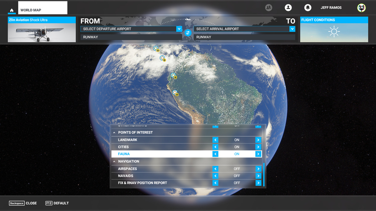 The fauna filter is enabled on the Microsoft Flight Simulator map screen.
