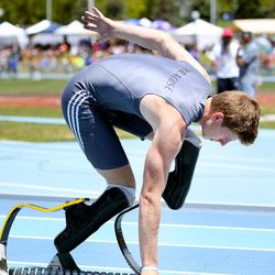 Syracuse High School's Hunter Woodhall gets set to compete in the 5A Boy's 400-meter race at the 2017 State Track & Field Championships at Brigham Young University in Provo on Saturday, May 20, 2017.