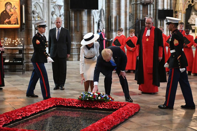 President Donald Trump and First Lady Melania Trump place a wreath on the Grave of the Unknown Warrior during a visit to Westminster Abbey on June 03, 2019, in London, England.