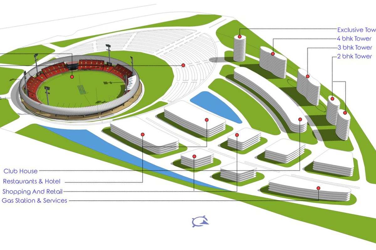A prototype for the U.S. Cricket League that shows a stadium and mixed-use.