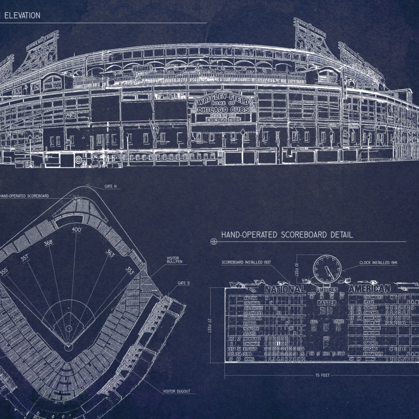 Ballpark blueprints wrigley field bleed cubbie blue malvernweather Image collections