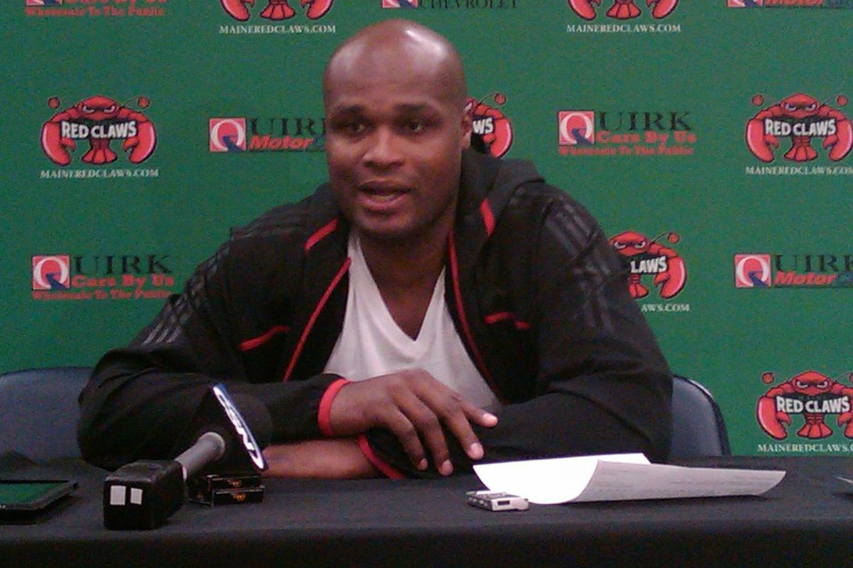 Antoine Walker answers questions at the postgame press conference following Thursday night's game between the Maine Red Claws and the Idaho Stampede of the NBA Development League. (Photo by Gethin Coolbaugh)