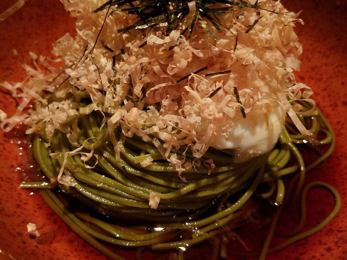 Raku's cold green tea soba
