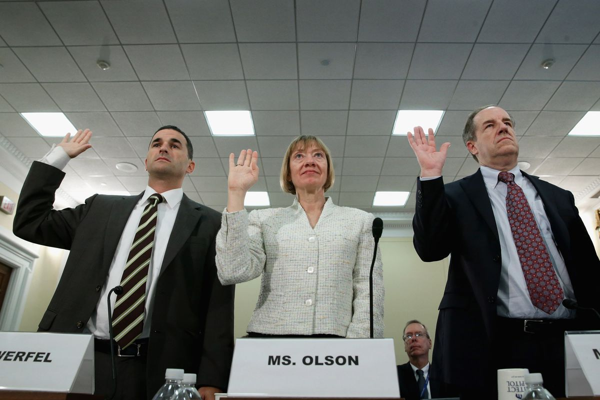 Acting IRS Commissioner Daniel Werfel, IRS National Taxpayer Advocate Nina Olson and Treasury Department Deputy Inspector General Michael McKenney are sworn in before a 2013 hearing on refund theft. Olson has been warning about the problem for years.
