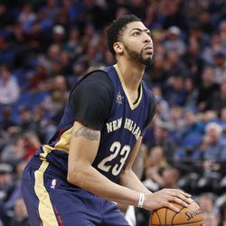 New Orleans Pelicans' Anthony Davis plays against the Minnesota Timberwolves during the second half of an NBA basketball game Friday, Feb. 10, 2017, in Minneapolis. (AP Photo/Jim Mone)