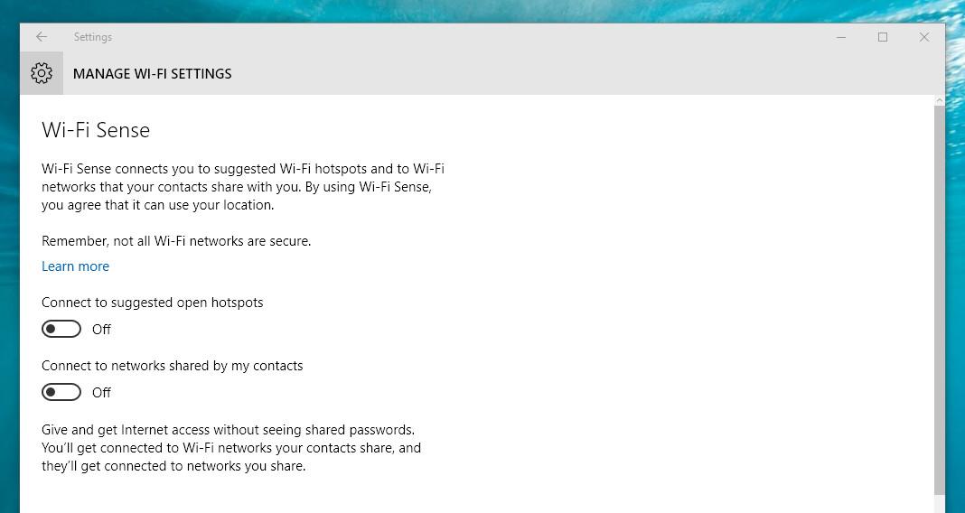 Windows 10 Wi-Fi Sense settings screenshot 1068