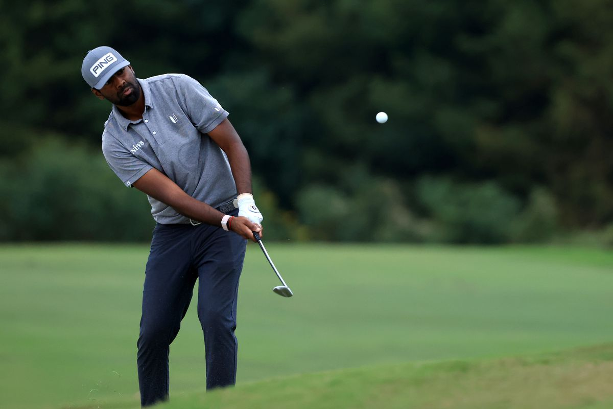 Sahith Theegala plays his shot on the 17th hole during round three of the Sanderson Farms Championship at Country Club of Jackson on October 02, 2021 in Jackson, Mississippi.