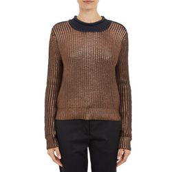 """<b>3.1 Phillip Lim</b> metallic sweater, <a href=""""http://www.barneyswarehouse.com/3.1-phillip-lim-metallic-coated-knit-pullover-sweater-503368215.html?index=42&cgid=clearance-whswclothing"""">$129.50</a>"""