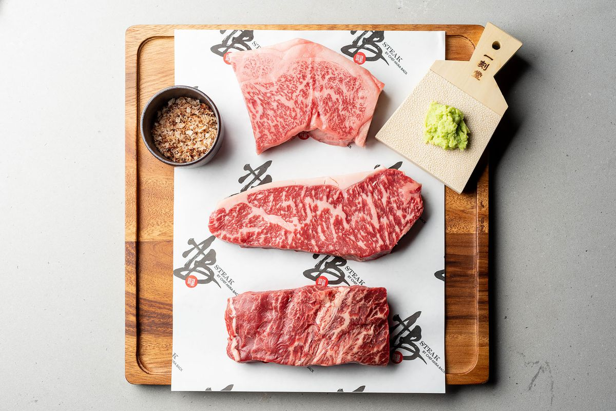 A sampler of beef: Sanuki Olive A5 NY strip, Sher black label NY strip, Washugyu flat iron