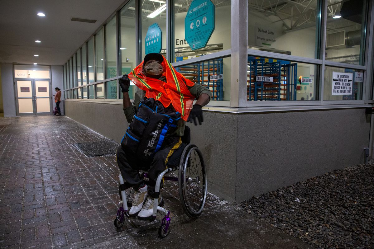 Aare prepares for his 4-hour shift at an Amazon fulfillment center, Feb. 24, 2021.