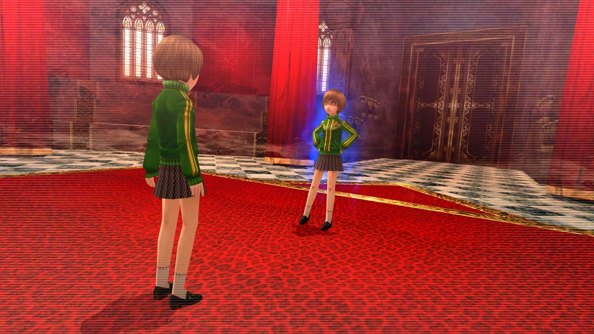 Chie faces her shadow in a lavish room, covered in red leopard print carpet.