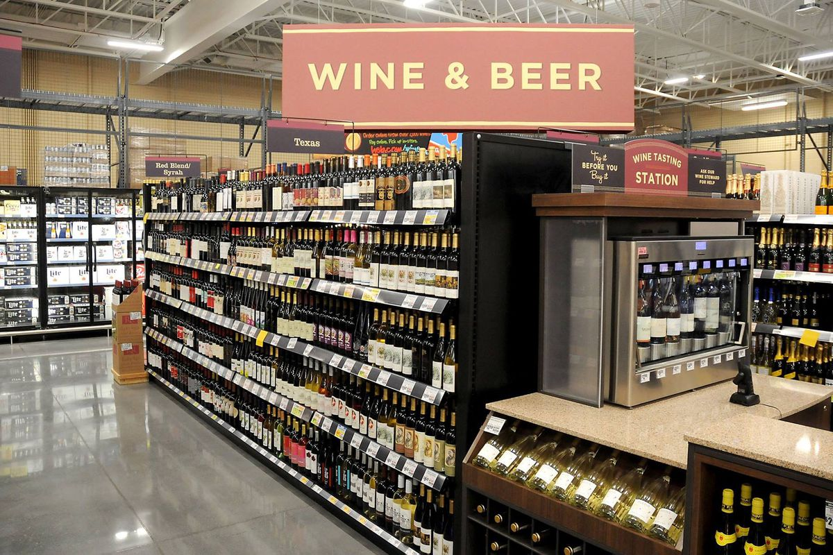 The beer and wine section at an H-E-B