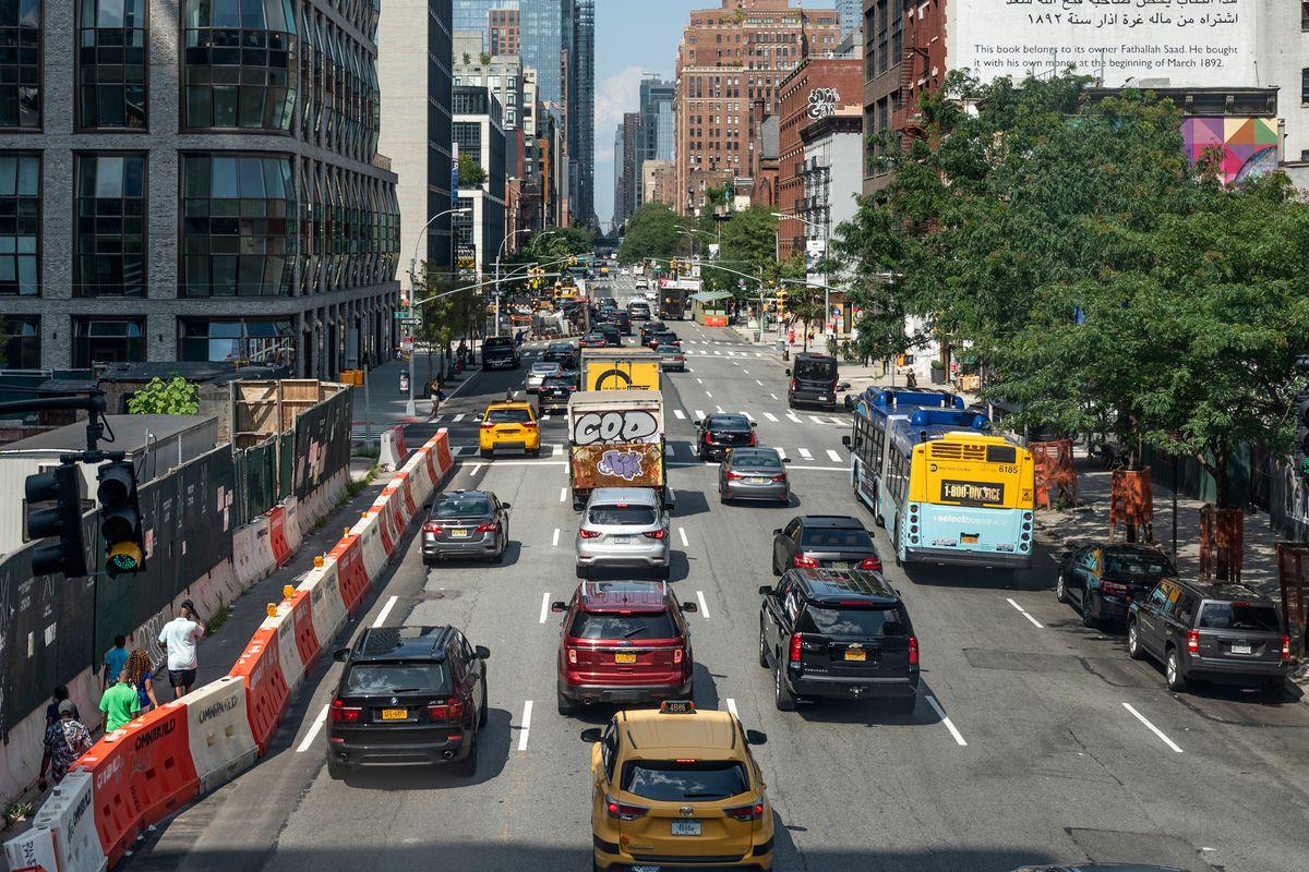 Traffic heads up 10th Avenue in Manhattan, July 23, 2021.