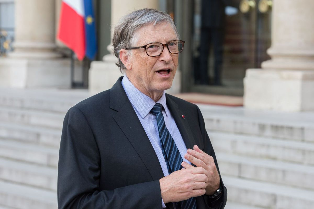 Bill Gates speaks about his foundation in Paris in 2018.