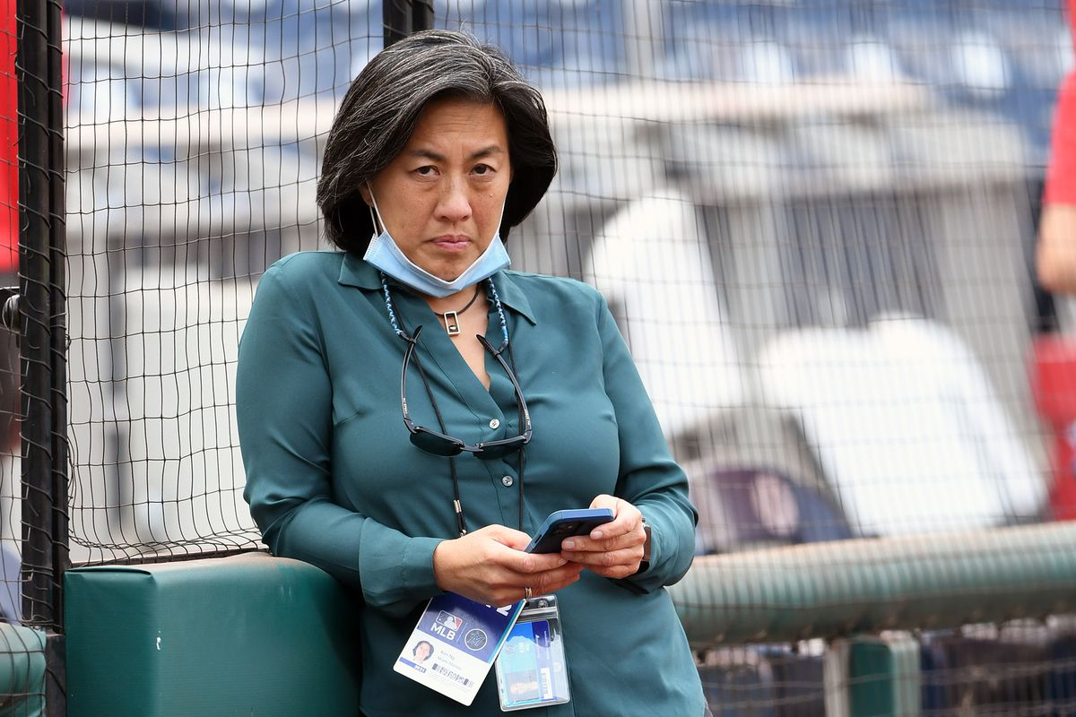 General Manager Kim Ng of the Miami Marlins looks on during batting practice of a baseball game against the Washington Nationals at Nationals Park