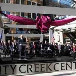 Bob Taubman speaks as City Creek Center opens in Salt Lake City, Thursday, March 22, 2012.