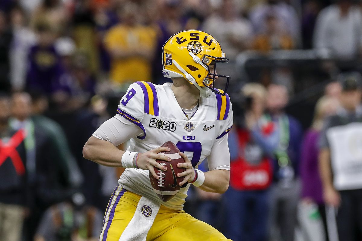 Quarterback Joe Burrow of the LSU Tigers on a pass play during the College Football Playoff National Championship game against the Clemson Tigers at the Mercedes-Benz Superdome on January 13, 2020 in New Orleans, Louisiana.