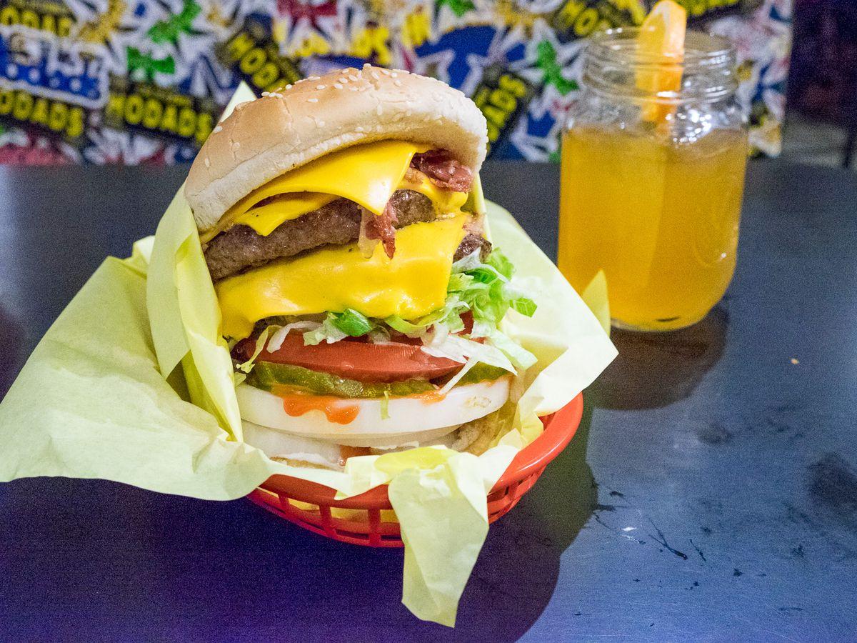 Double bacon cheeseburger at Hodad's