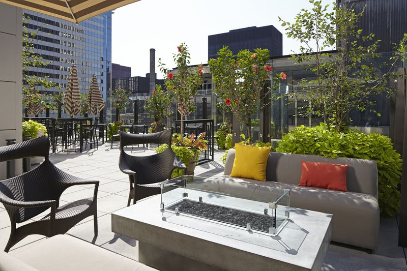 The rooftop patio at Aire in the Hyatt Centric offers a 360-degree view of the city.