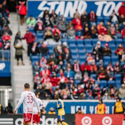 Aaron Long (33) in his first game at Red Bull Arena as a starter for RBNY in MLS
