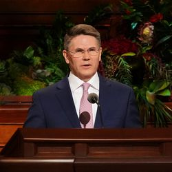 Elder Sean Douglas, a General Authority Seventy, speaks during the Sunday afternoon session of the 191st Semiannual General Conference of The Church of Jesus Christ of Latter-day Saints on Sunday, Oct. 3, 2021, in the Conference Center in Salt Lake City.