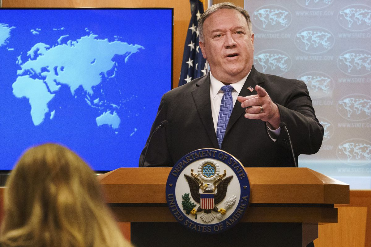 Potential candidate for the presidential election in 2024, former Secretary of State Mike Pompeo, answers a reporter's question.